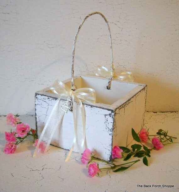 FLOWER GIRL BASKET - Heart Charm - Shabby Cottage Weddings - 4 1/2 x 4 1/2