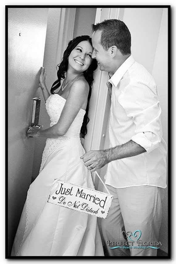 Wedding Signs, JUST MARRIED Sign, Do Not Disturb, Honeymoon Sign, Mr. and Mrs. Signs, Bride and Groom Signs, 4 3/4 x 12