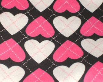 Flannel Black/Pink Hearts Baby Blanket