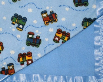 Flannel Blue Train Baby Blanket