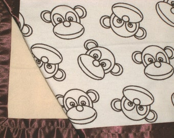 Flannel Cream Monkey Face Baby Blanket