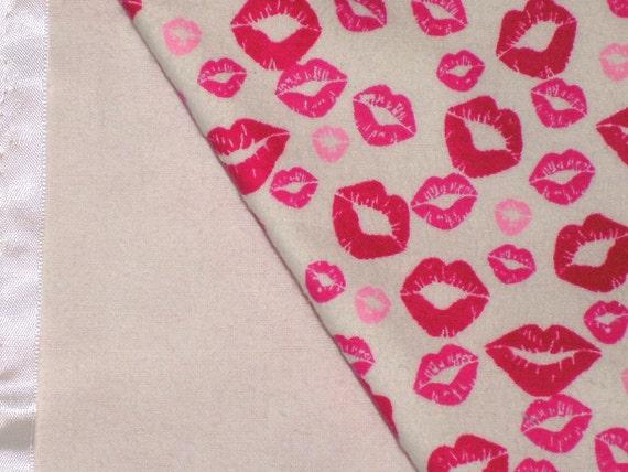 Flannel Lips Baby Blanket
