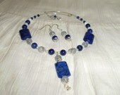 Lapis and Blue Lace Agate Memory Wire Choker set