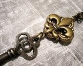 fleur de lis skeleton key necklace - original exclusive