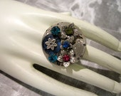 Steampunk Jewelry - steampunk jeweled flower ring - one of a kind