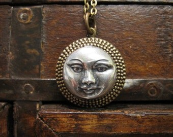 Moon Locket Necklace, Silver Moon, Vintage Brass Locket, Man in the Moon, Celestial, Gift for Mother, For Her, Photo Locket, Handmade Locket