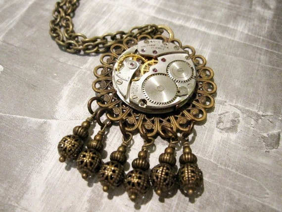 Steampunk Necklace Jeweled Watch Movement - one of a kind