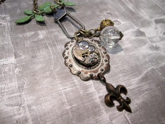Steampunk Necklace,  Fleur de Lis Necklace, clockworks Necklace, Shabby Chic,  Verdigris, Upcycled, Nature, Branch, Vintage, One of a Kind