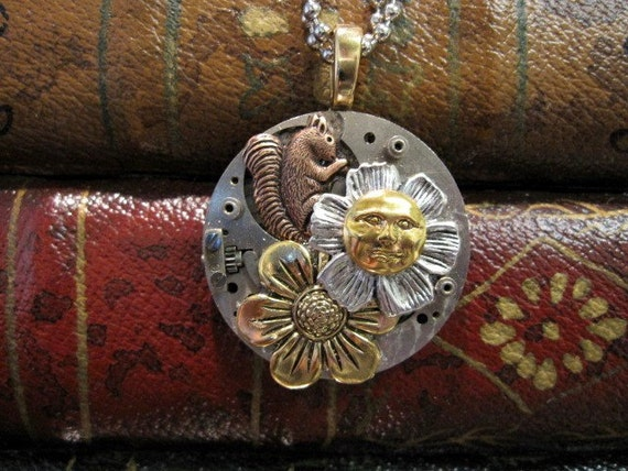 Squirrel Necklace, Clockworks Necklace, Steampunk Necklace, Squirrel, Sun, Woodland Necklace, Repurposed, Upcycled, OOAK, One of a Kind