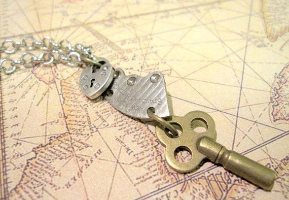 Key Necklace, Skeleton Key Necklace, Clockworks,  Lock Necklace, Women's Steampunk, Vintage Watch Parts, Upcycled Key Necklace, Steampunk