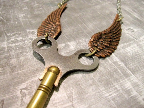Steampunk Jewelry Wing Clock Key Necklace - original