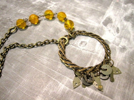 steampunk necklace - circle of love - by Days Long Gone