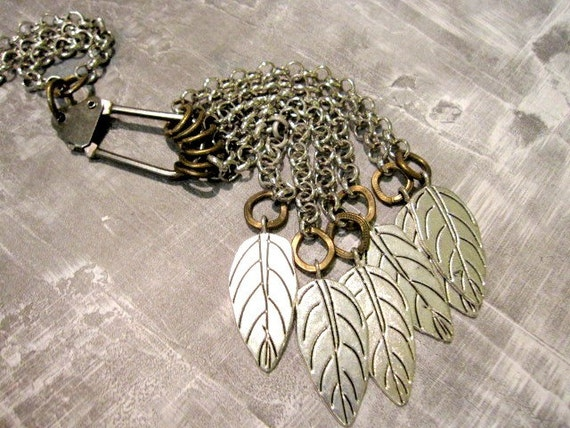 Leaves Necklace, Tassel Necklace, Women's Steampunk, Renaissance, Medieval Jewelry, Gothic Necklace, Silver Leaves, One of a Kind, OOAK