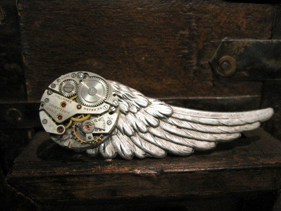 mens steampunk tie clip wing of steam  by ORIGINAL DESIGNER    Days Long Gone