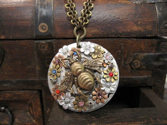 Steampunk Necklace Bee Flower Garden One of a Kind