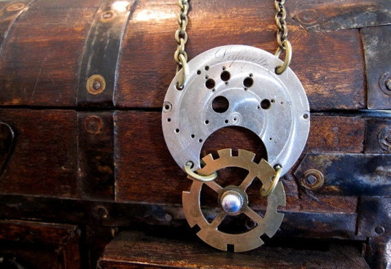 RESERVED - Steampunk Jewelry - Geared Up Man Vintage Watch Part Gears Recycled