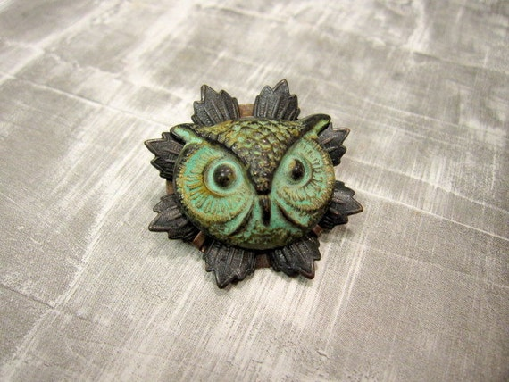 Owl Brooch, Owl Pin, Woodland Brooch, Woodland Animal, Verdigris Owl, Woodland Pin, Animal Brooch, Nature Brooch, Owl, Animal Pin, Owl Head