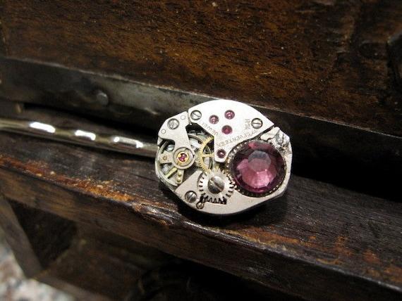 Steampunk Clockworks Bobby Pin Purple Plum Swarovski Crystal