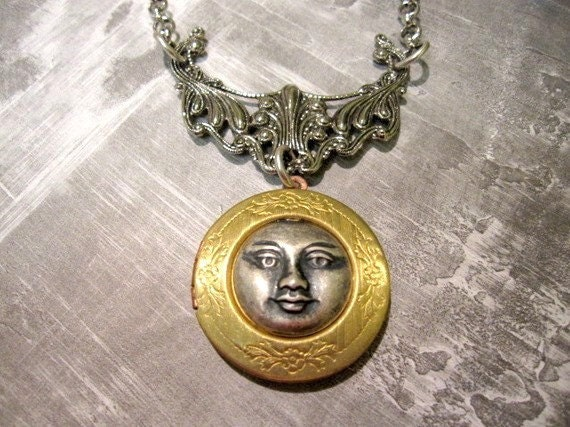 Moon Locket, Man in the Moon Locket,  Moon, Victorian Locket, Brass Locket, Vintage, Silver Moon, Celestial,  Heavenly, Days Long Gone