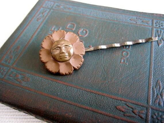 Vintage Button Moon Hair Clip Bobby Pin