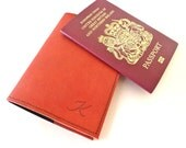 Leather Passport Holder, Red