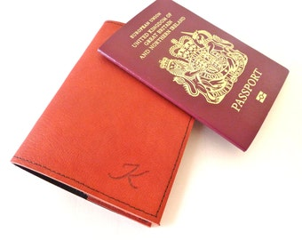 FREE SHIPPING, Leather Passport Holder, Red