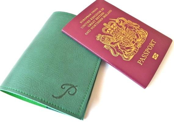 Leather Passport Holder, Green