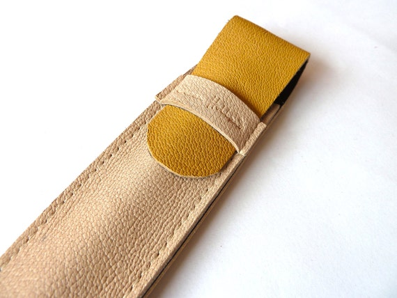 Leather Pen Case, Mustard and Natural Tan