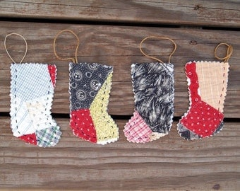 4 Stocking ornaments Handmade from an Antique Quilt