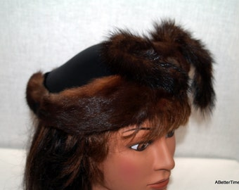 Mink hat with satin top - On Sale Now