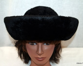 SALE - Faux fur and wool floppy bohemian hat made in Italy