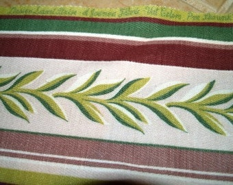 Vintage Remnant 1950s Mid-Century Art Deco Plumes - Burgundy Green Cream Upholstery Curtain Fabric