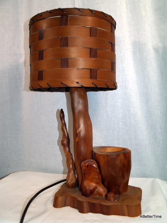 Vintage mid century modern cypress knee lamp with splint wood shade