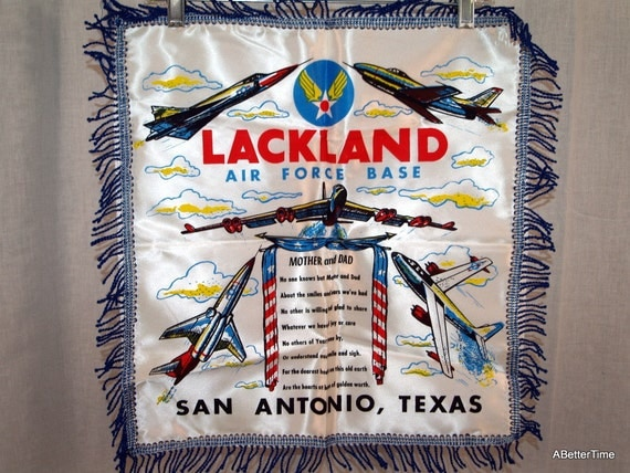 Lackland Air Force mother and dad pillow cover souvenir San antonio A.F. Base. Texas