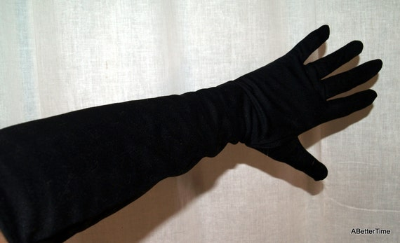 Lady Gay gloves black nylon vintage