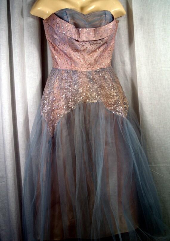 Vintage 1950s Prom Dress  Powder Blue Tulle Full Skirt Strapless Chevron