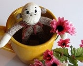 Sock Monkey-Miniature Sock Monkey FREE SHIPPING to US and CANADA