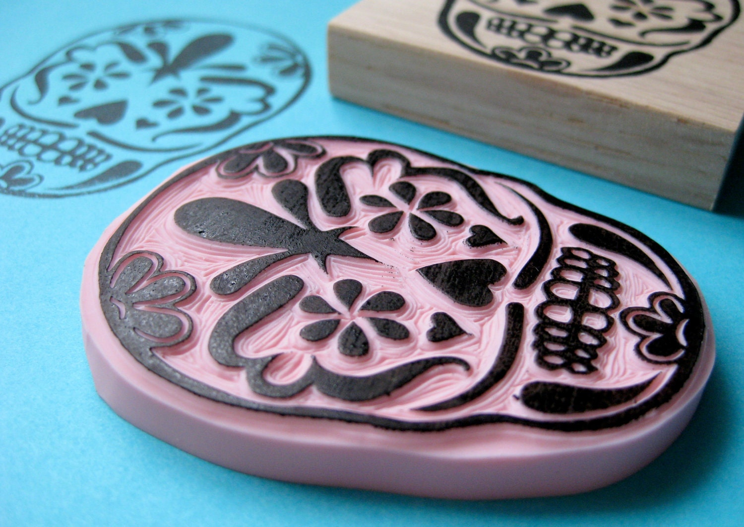Sugar skull hand carved rubber stamp by hoffeeandanuffin