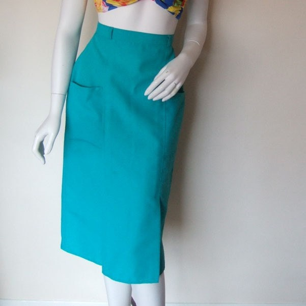 green calf length pencil skirt