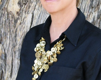 Gold Dangles Button Necklace Crochet Button Necklace PATTERN / INSTRUCTIONS
