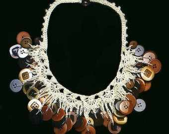Brown Button Necklace Crocheted Necklace PATTERN / INSTRUCTIONS