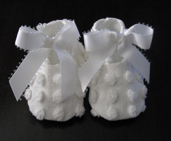 Handmade Vintage Baby Booties - Crisp white baby shoes from antique chenille