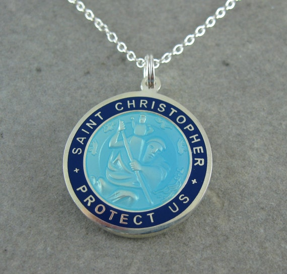 Large St Christopher Necklace W Surfer Skyblue W Navy