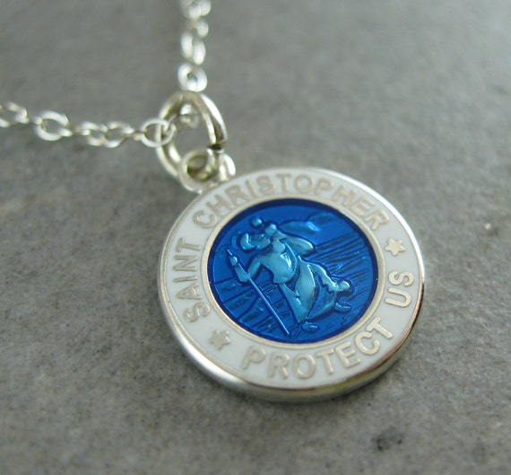 Mini St. Christopher Medal Necklace- PLAIN BACK- Royal Blue w/ White Border