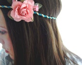 CLARA- turquoise and gold hair decoration with pink flower