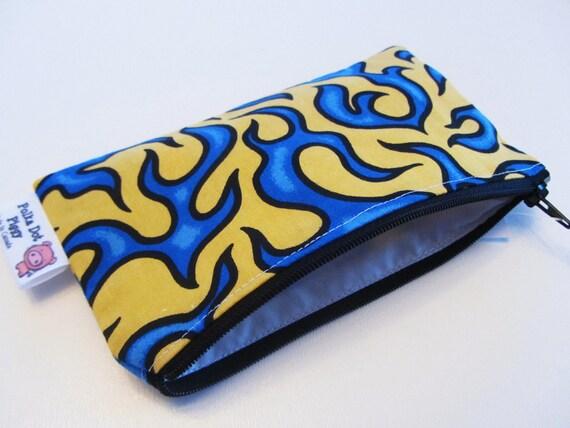 Reusable- Water Resistant - Mini Zipper Bag- Blue/Yellow Flames