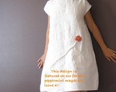 pure linen dress white with rust pleated flowers custom order listing