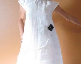 handmade to measure white linen dress with black flower