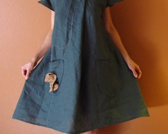 Ginger hand pleated flowers linen dress with two pockets custom order listing