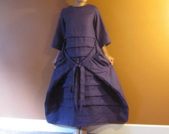 handmade to measure  linen pleated flutter dress with sleeves